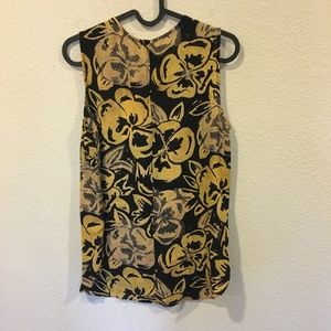 Who What Wear Tops - NWT Who What Wear yellow and black floral blouse